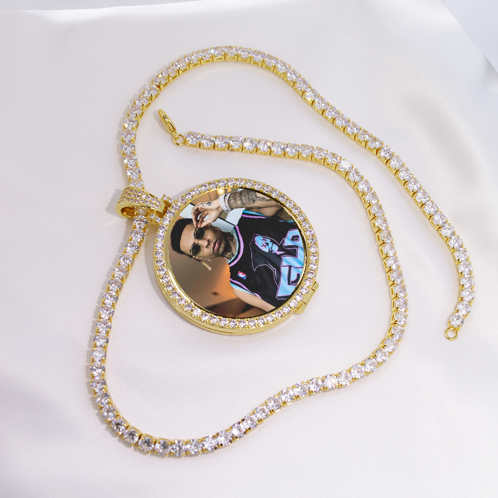 Custom Made Photo Medallions Pendant Necklace & 4mm Tennis Chain Gold Silver Iced Out Cubic Zircon Men's Hip hop Jewelry Gift