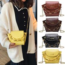 Hot Sale Handbags Solid Color Fashion Women Shoulder Crossbody Bag PU Leather Chain Totes Pure Handb for Hiking and Travel