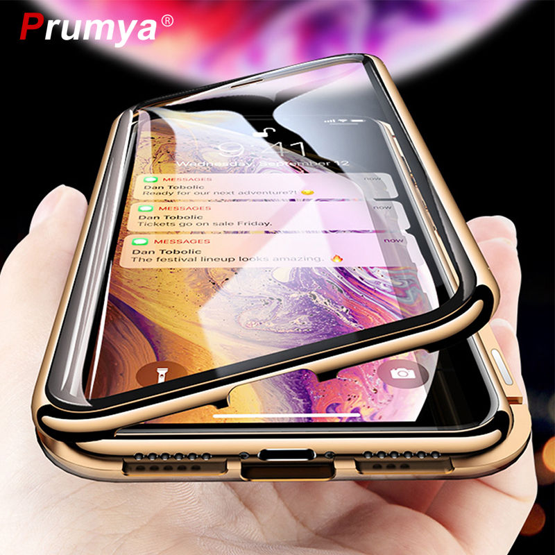 Metal Magnetic Adsorption Case For iPhone XS MAX X XR 6 6S Plus Double Sided Tempered Glass Magnet For iPhone 7 8 Plus 11 SE2020(China)