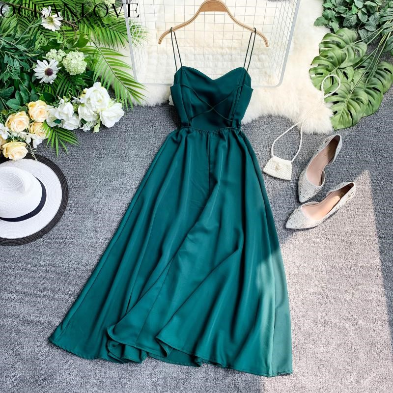 OCEANLOVE Sexy Party Dress Solid A-line Backless 2020 Summer Dress Lace Up High Waist Elegant Long Dresses Zipper Beach 11521