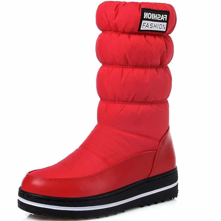 Moda kadın Kar Botları Su Geçirmez Orta buzağı Çizmeler Kadınlar Için Sıcak Kış Çizmeler Kar Botları Platformu Kış Kadın pamuklu ayakkabılar