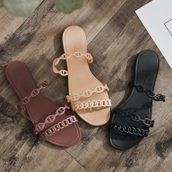 Summer Beach Woman Flip Flops Valentine Slippers PVC Slides Female Sandals Slip on Flat with Women Studs Slippers Jelly Shoes 1