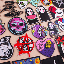 Prajna Punk Biker Patches Skull Embroidered Patches For Clothing Badges Iron On Patches Stripe On Clothes Applique Jacket Jeans