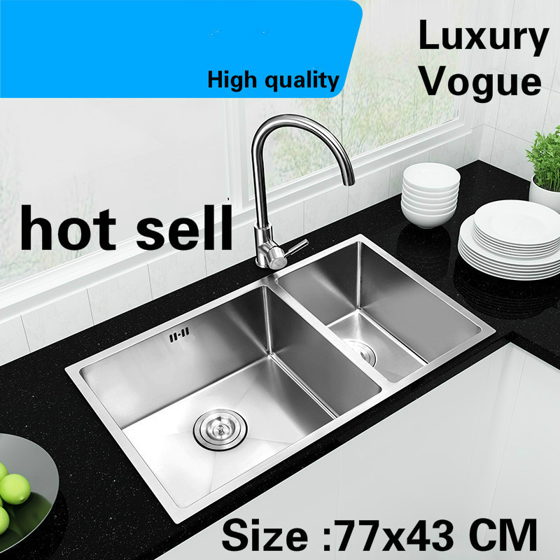 Free Shipping Apartment Luxury Kitchen Manual Sink Double Groove Wash Vegetables Standard 304 Stainless Steel 770x430 MM