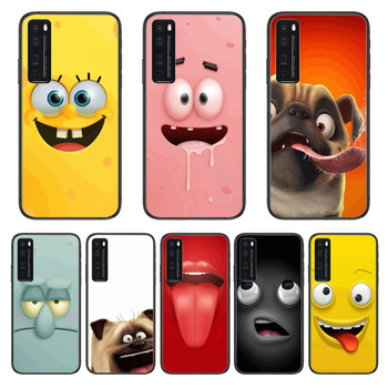 Funny Expression Anime Phone Case For Huawei Nova p10 lite 7 6 5 4 3 Pro i p Smart ZBlack Etui 3D Coque Painting Hoesje image
