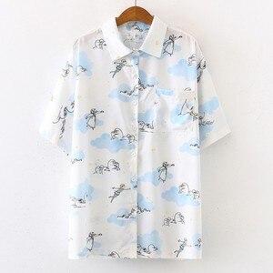 Women Shirts Summer Hawaiian Style Retro Print Shirt Short Sleeve Casual Shirt Lapel Blouse Loose Holiday Beachwear Shirts Women