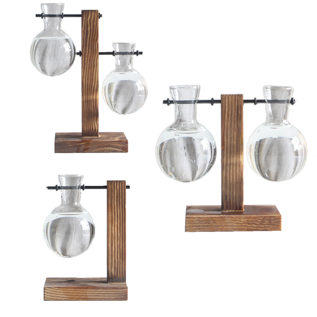1Set Glass Vase Home Garden Glass Hydroponic Container Table Desktop Transparent Glass Bulb Vase Flower Pot Home Decor 3