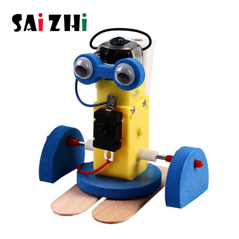 Saizhi DIY Electric Walking Robot Model Kits Kids Teaching Students Children STEAM Scientific Experiment Toys Educational Toy(China)