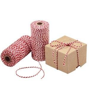 Image 1 - DIY Handmade nić bawełniana 1 rolka 100 metrów wysokiej jakości sznur czerwona biała karta wisząca lina prezenty pakowanie sznurka sznurek
