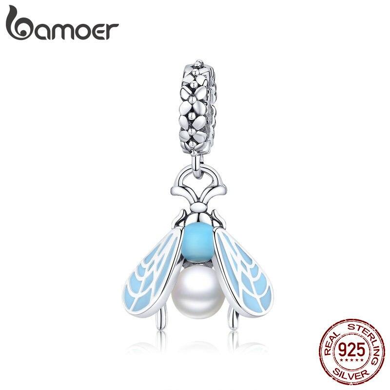 Bamoer Insert Series 925 Sterling Silver Blue Enamel Moth Pendant Charm Fit Original Bracelet Or Necklace For Women SCC1479