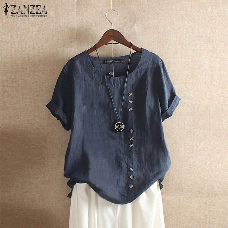 2019 ZANZEA Women's Cotton Blouse Stylish Casual Tops Long Sleeve Shirts Female O Neck Blusas Oversized Woman Linen Tunic 5XL
