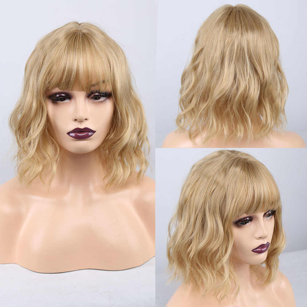 Amir Bob peruk sentetik karışık renk siyah karışımı koyu kahverengi peruk kadınlar için orta uzunlukta isıya dayanıklı Cosplay peruk