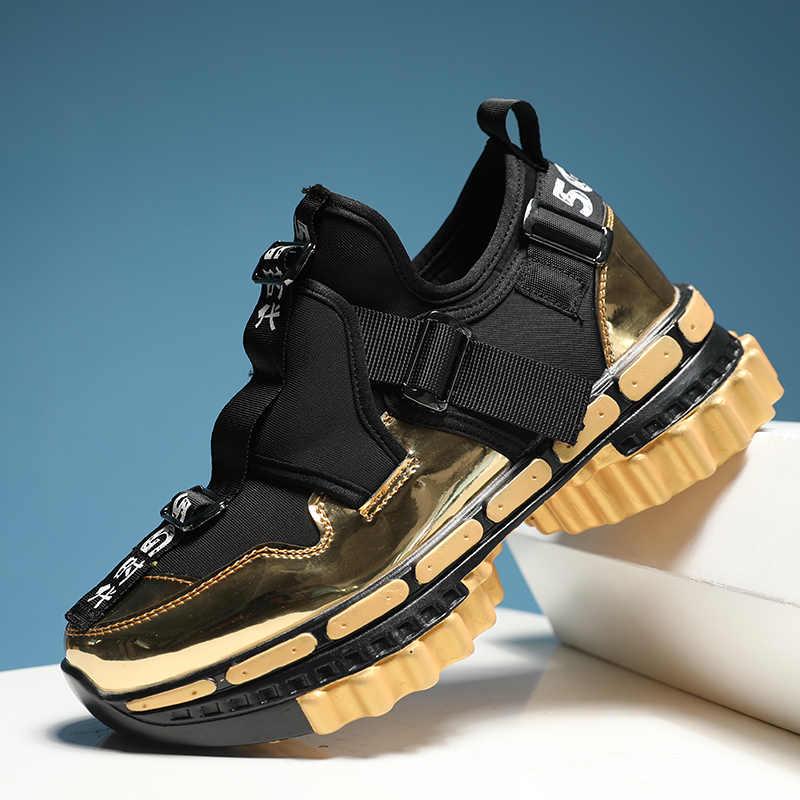 Moipheng tıknaz ayakkabı erkekler Platform Sneakers kadınlar altın 2020 moda ayakkabılar siyah kama erkekler nefes koşu renkli spor ayakkabı