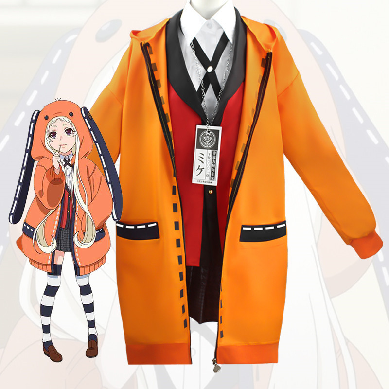 Anime Kakegurui Yomoduki Runa Jacket Hoodie Coat Yumeko Jabami Cosplay Costume Japanese School Girls Uniform Wig And Costume