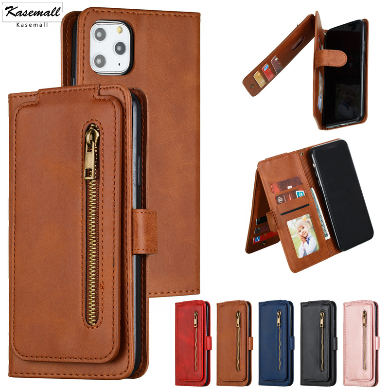 Case For iPhone 11 Pro Max X XS XR SE 2020 6 6s 7 8 Plus Luxury Zipper Wallet Leather Magnetic Flip Card Stand Phone Cover Coque image
