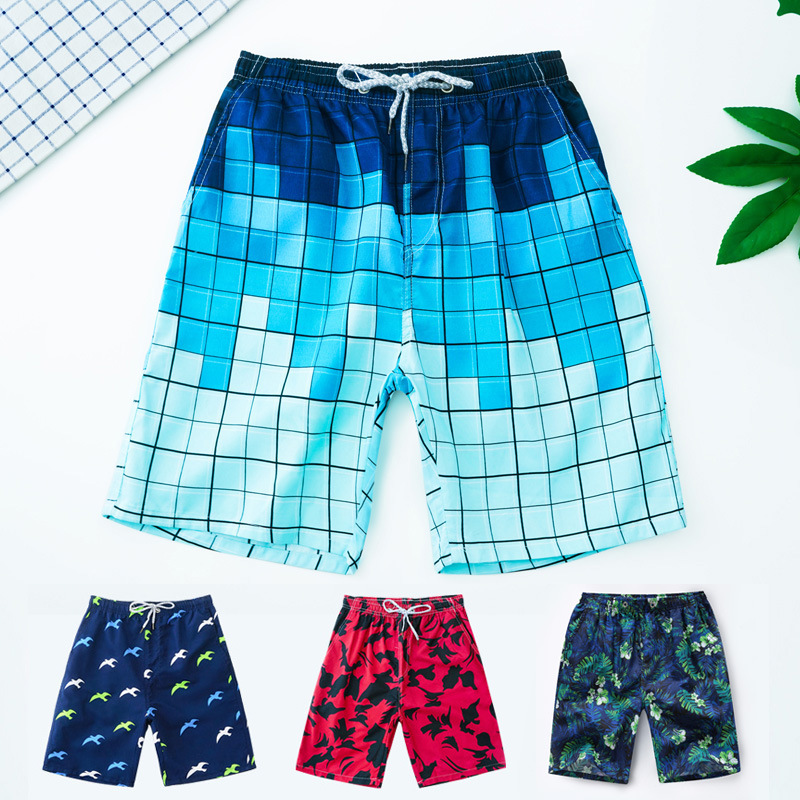 Swimming Trunks Men's Boxer Short Men Pants Anti-Extra-large Beach Bathing Suit Loose-Fit Awkward Code Men's Bubble Is Swimming