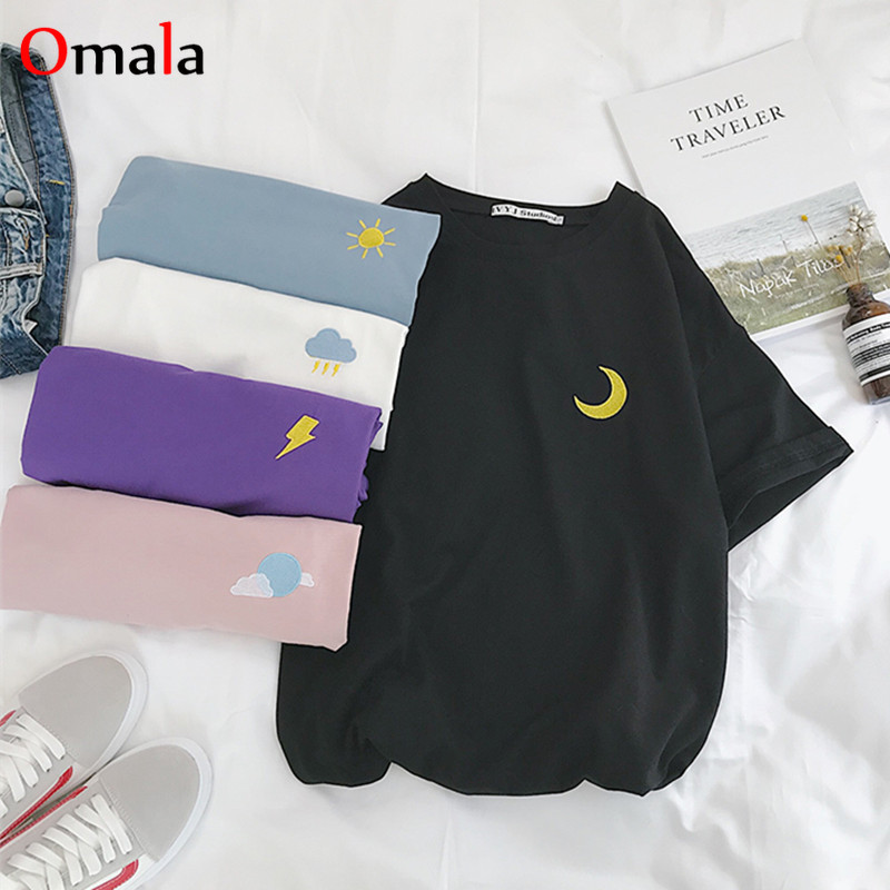 Korean Cartoon Embroidery Loose All-match T Shirt Summer Short Sleeve Simple T-shirts Women Harajuku Kawaii Candy Colors Tshirt