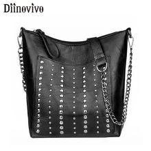 DIINOVIVO Vintage Bag Women Shoulder Bags Punk Rivet Bucket