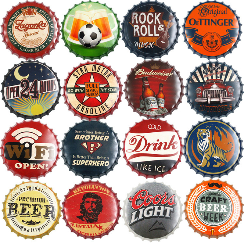 WIFI Open Drink Beer Metal Round Plate Art Crafts Beer Bottle Cap Tin Sign Bar Pub Kitchen Wall Hanging Plaques Vintage Decor