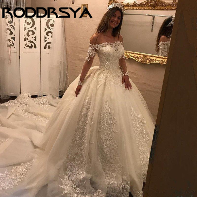 RODDRSYA Vintage Lace Ball Gown Wedding Dress Long Sleeve Off Shoulder Princess Bridal Gowns Tulle Appliqued vestido de novia in Wedding Dresses from Weddings Events