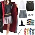 Волшебный школьный косплей костюм плащ халат шарф галстук шарф с рубашкой и юбкой свитер Одежда для косплея на Хэллоуин аксессуары для взро...