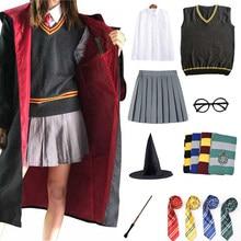 Escola mágica cosplay traje manto cachecol gravata cachecol camisa saia camisola cosplay roupas dia das bruxas acessórios adulto crianças