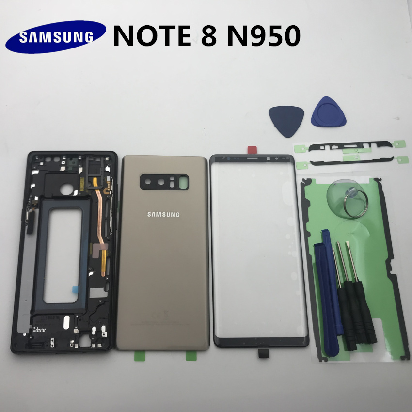 Original NOTE8 Full Housing Case Back Cover+Front Screen Glass Lens+Middle Frame For Samsung Galaxy Note 8 N950 N950f Fall Part