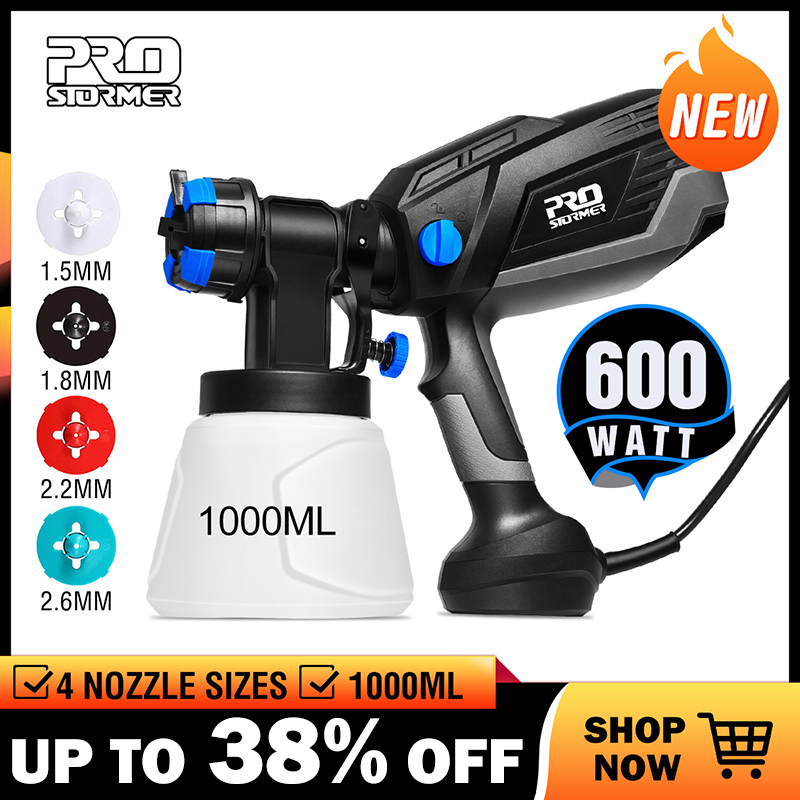 PROSTORMER 600W Electric Spray Gun HVLP Home Paint Sprayer 1000ml Capacity 4 Nozzle Sizes Flow Control Airbrush Easy Spraying