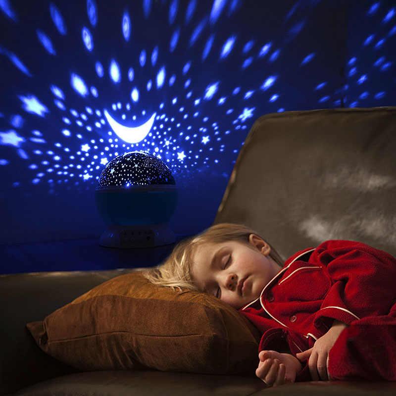 Projetor led estrela lua luz da noite céu girando bateria operado nightlight lâmpada para crianças crianças quarto do bebê presentes berçário