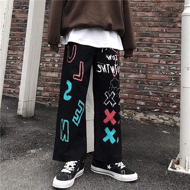 Focal20 Streetwear Graffiti Women Pants Loose Elastic Waist Cotton Wide Leg Female Trousers Casual Spring Autumn Lady Bottoms