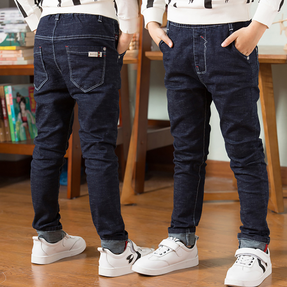 Children Jeans Trousers Pencil-Pants Teen Boys Kids Cotton Casual Autumn Spring Solid title=