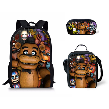 3PCs/Set Kids School Bags Set Five Nights At Freddys Pattern Primary Students School Backpack Cartoon Children Schoolbag Mochila perceptions towards behavior development at primary school in pakistan