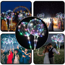 high quality natural latex Reusable Luminous Led Balloon Transparent Round Bubble non-toxic beautiful Decoration Party Wedding(China)