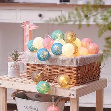 1.5m Cotton Ball Battery LED Light String Lovers Wedding Party Bedroom Decoration Lamp