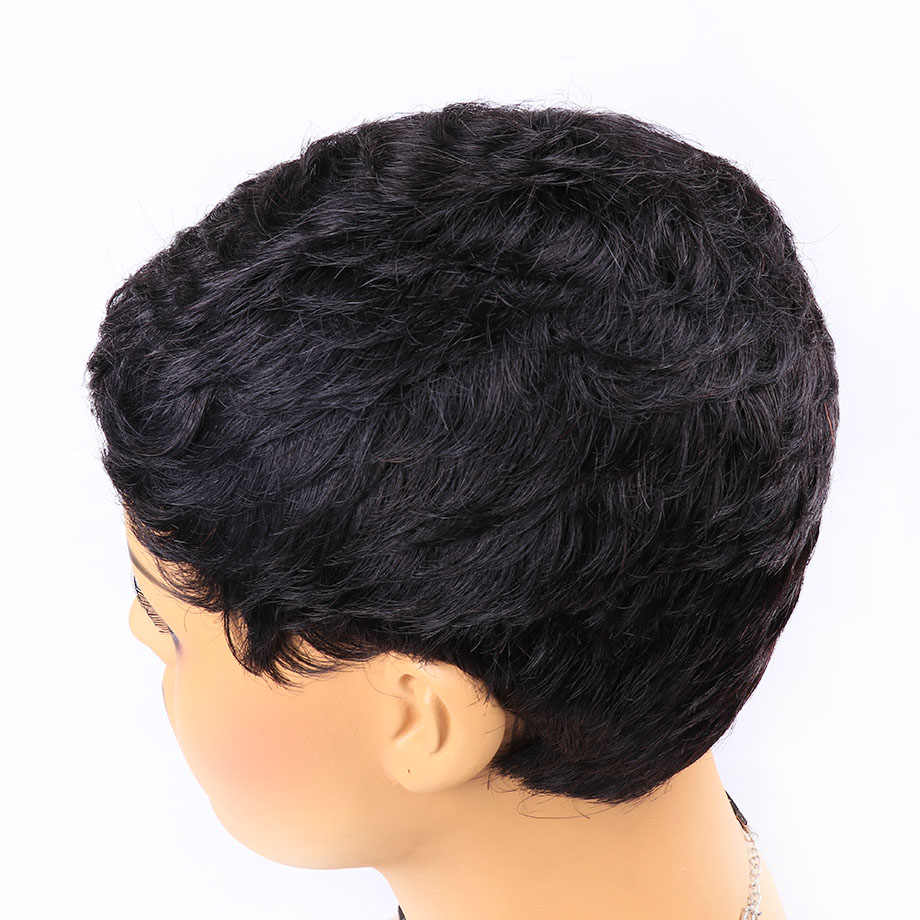 Pixie corte peruca natural cachos curtos perucas de cabelo humano para preto feminino peruca brasileira cor natural 130% densidade pelo cabelo