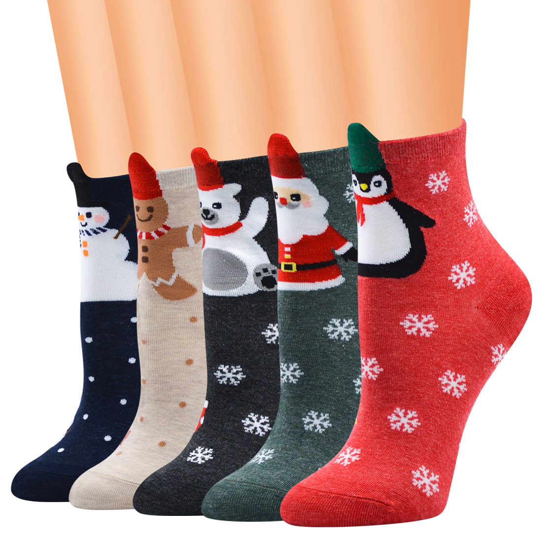 3D Christmas Socks Carnival Women Winter Socks Penguin Bear Celebration Christmas Gift Warm Soft Comfortable Cotton So