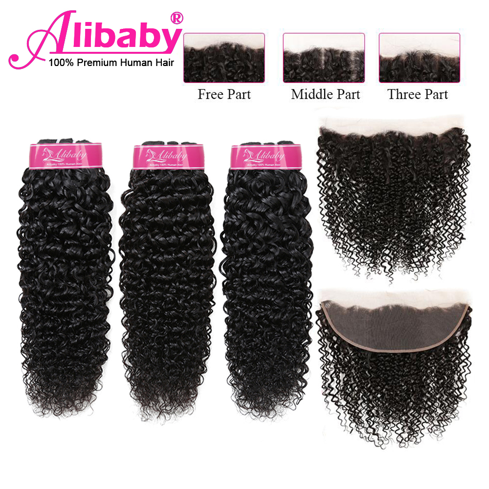 Alibaby Jerry Curl Human Hair Bundles With Frontal Curly Bundles With Closure Malaysian Hair NaturalColor 3 Bundles With Frontal