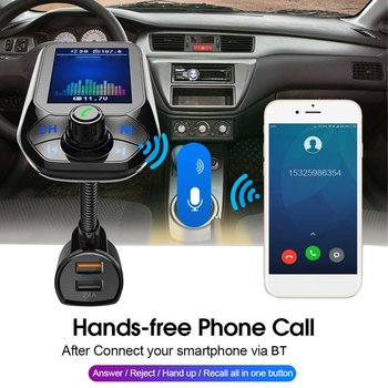 Car Multi-function Large Color Screen Wireless MP3 Player Car FM Music Transmitter Handsfree Adapter Car Audio Player image