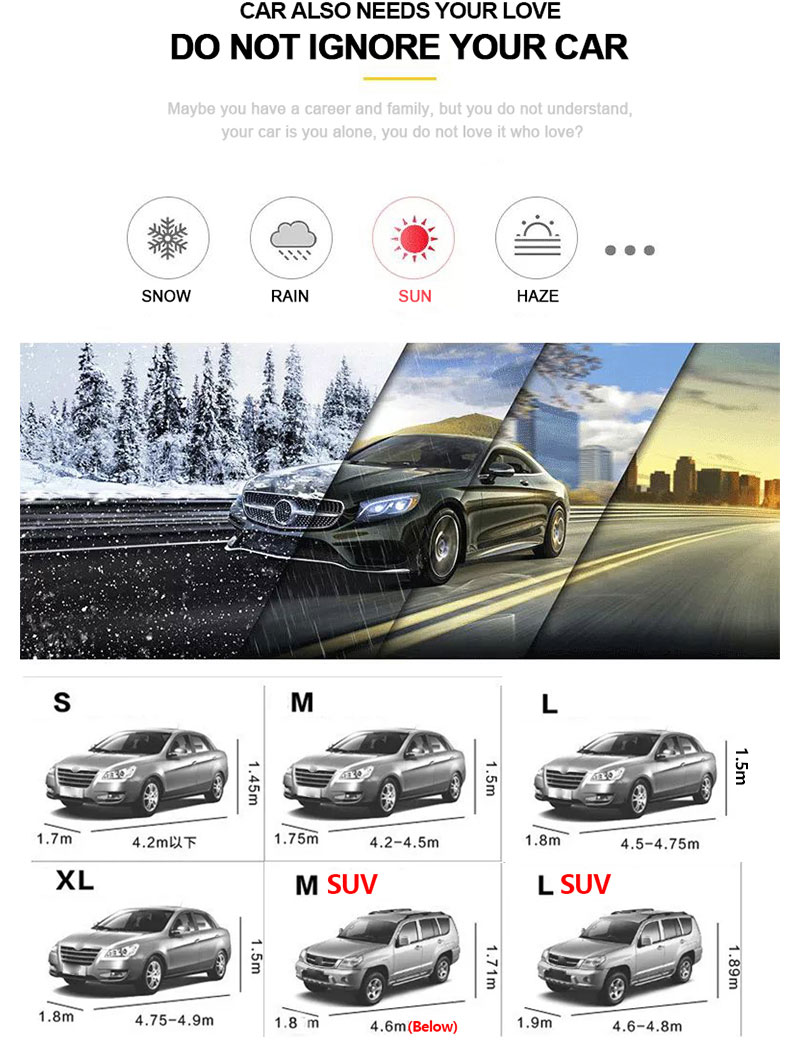 Car Cover Sedan SUV Tent Covers Sun Reflective Shade Rain Frost Snow Dust Waterproof Protection Anti UV Outdoor Car Accessories (4)
