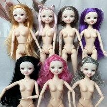 Bjd 1/6 boneca 20 corpo articulado bonito smiley rosto vários cor do cabelo 30 cm nu bebê diy menina crianças brinquedo presente sem roupas