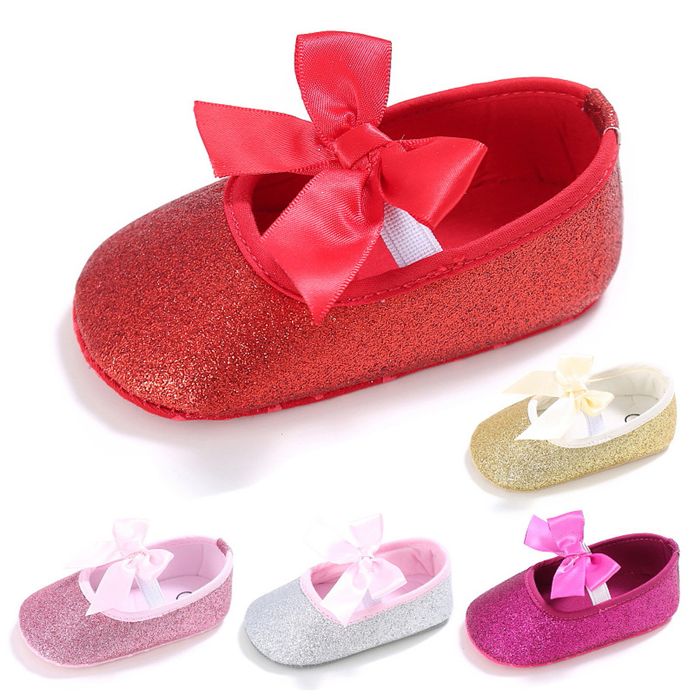 Newborn Girl Shoes Shining Solid PU Leather Bowknot Cotton Soft Sole Slip-on Princess First Walkers Crib Shoes Toddler Infant