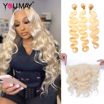 613 Blonde Bundles With Frontal Peruvian Body Wave 3 Bundles Blonde Human Hair Lace Frontal Closure With Bundle You May Virgin image