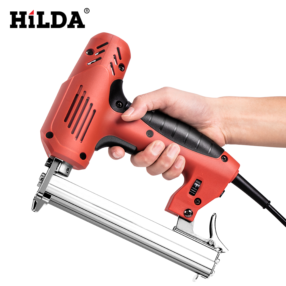 Hilda Electric Nailer 2 In 1 Staple Gun Framing Tacker U-Shaped Straight Nail Gun 1022J/F30/422J 6 Speed 2000W Woodworking Tools