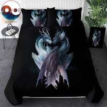 Yin and Yang Dragons Black by JoJoesArt Bedding Set 3D Printed Duvet Cover 3 Piece Bed Set Queen Animal Home Textiles For Adults