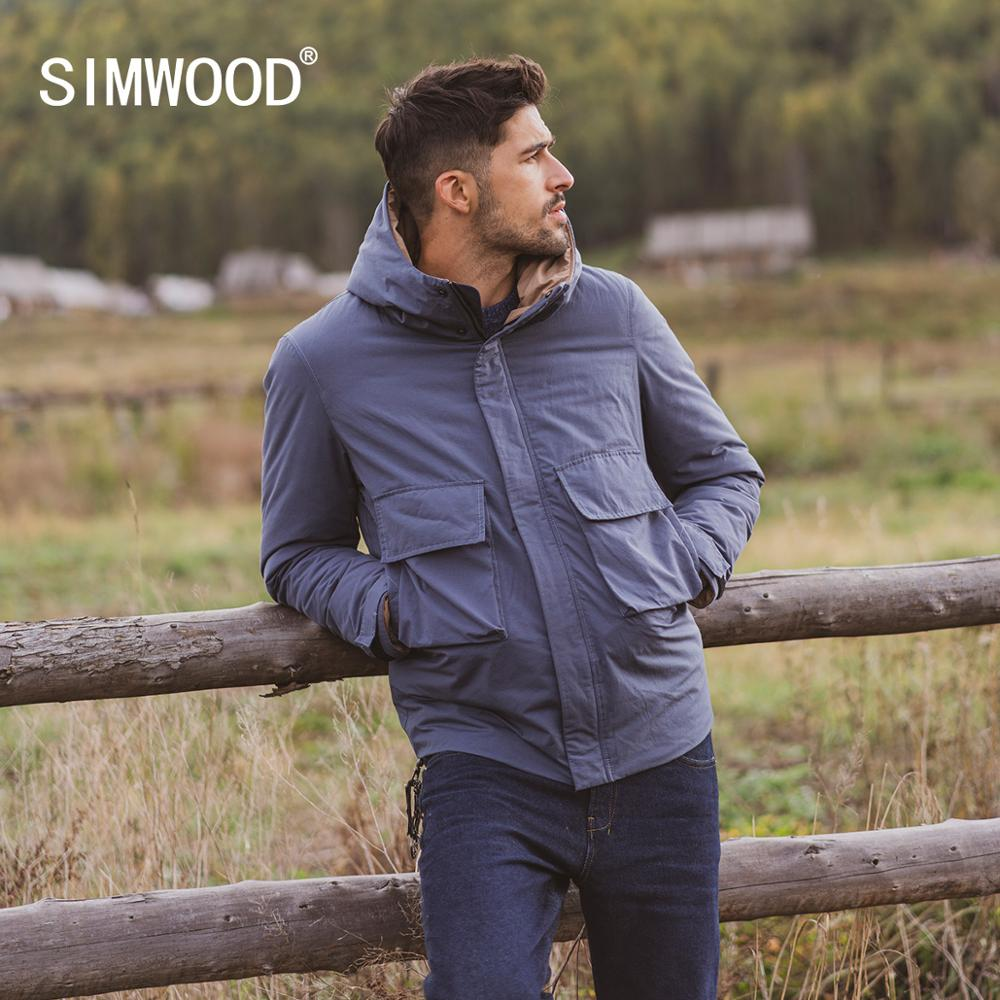 SIMWOOD 2019 Winter New 90% White Down Duck Coats Men Hooded Fashion Pockets High Quality Brand Clothing SI980623