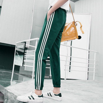 Woman Elastic Waist Thin Section Drawstring Pants Ankle-length Athleisure Striped Side Sports Sweatpants
