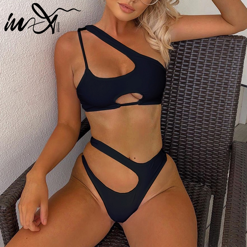 In-X One shoulder bikini set Sexy keyhole bikini 2020 High cut swimsuit female bathing suit Hollow out swimwear women bathers