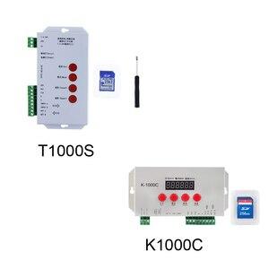 K-1000C T-1000S WS2812B APA102C SK6812 WS2811 WS2801 taśmy Led 2048 pikseli kontroler adresowalny programowalny kontroler 256 SD