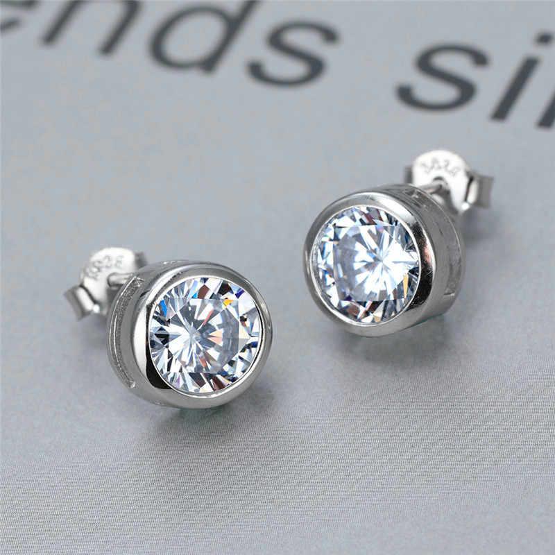 925 เงินสเตอร์ลิงสีขาว Sapphire Lab ต่างหูเพชรผู้หญิงเครื่องประดับหมั้นต่างหู 6/7/8 มม.หิน