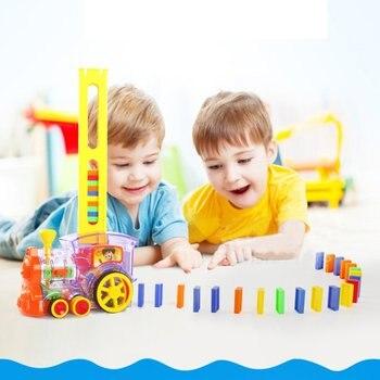 ילדים של דומינו רכבת לרכב עם קול אור אוטומטי פליטה להגדיר בלוקים מעלית מקפצה גשר סט ילדים צעצועים